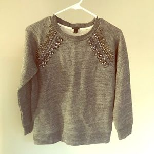 J.Crew jeweled beaded gray Raglan sweatshirt Sz XS
